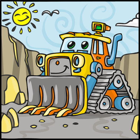 quarry: Detailed illustration of a Cartoon Bulldozer Character with Quarry Background Illustration