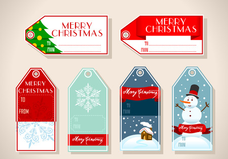 six objects: Detailed illustration of a set of six christmas placeholder giftThis illustration is saved in EPS10 with color space in RGB.Where possible, the objects have been grouped to make it easily editable or hidden.This illustration contains a transparency blends
