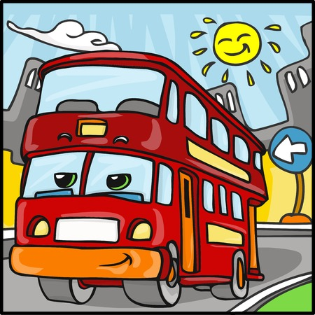 decker: Detailed illustration of a Cartoon Red Duble Decker Bus Character Illustration