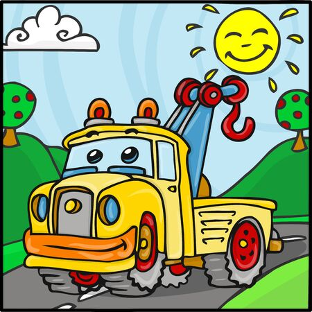 tow car: Detailed illustration of a Cartoon Tow Truck Character with Hills Background Illustration