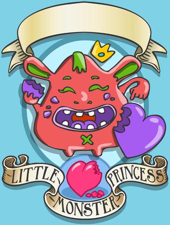 Gedetailleerde illustratie van een Game Tale - Spellbound Little Monster Princess - BannyThis afbeelding wordt opgeslagen in EPS10 met kleur in RGB. Vector Illustratie