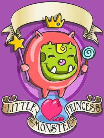 Gedetailleerde illustratie van een Game Tale - Spellbound Little Monster Princess - DeveThis afbeelding wordt opgeslagen in EPS10 met kleur in RGB.