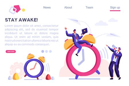 Morning Classic Minute Reminder. Work Deadline, Wake Alarm, Chronometer Concept. Bell on Time Device, Clock and People Ring. Cartoon Flat Vector Illustration Hero Image, Banner for Web Page.