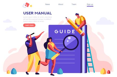 Instructions Manual Concept. Textbook, Document Construction. User Catalog. Guide, Instruction Concept for Web Banner, Infographics, Hero Images. Flat Vector Illustration Isolated on White Background.