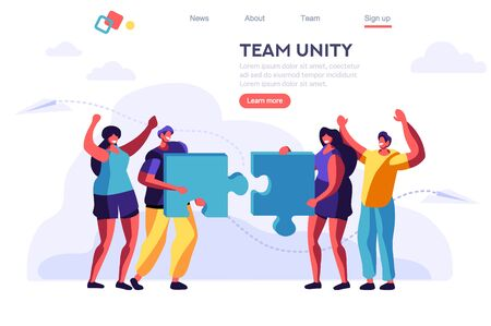 Metaphor Shape, Teamwork Object. Cooperation Jigsaw. Partnership, Blue Partner Connection. Concept for Web Banner, Infographics, Hero Images. Flat Vector Illustration Isolated on White Background.