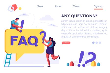 Design, Confusion Symbol Metaphor, Sign of Confuse Business. Ask Concept, Exclamation, Question. Art Around Communication. Answer to Mark Work. Cartoon Flat Vector Illustration Hero Image, Banner.