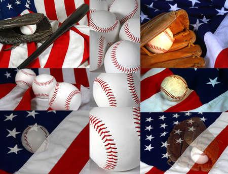 Flag and baseball collage photo