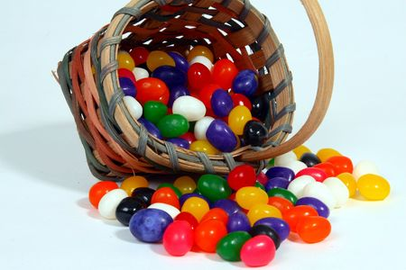 jelly beans: Jelly beans and basket Stock Photo