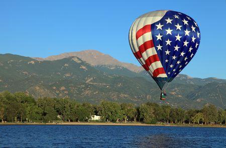 Hot air balloon and Pikes Peak photo