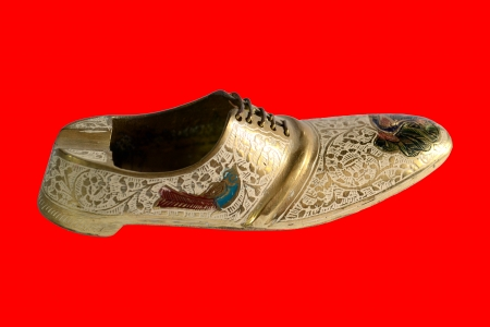 Oriental vintage brass ashtray in form of shoe