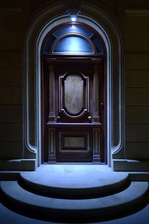 old door at night