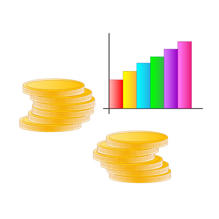 Columns of coins with a business graph on a white background Archivio Fotografico