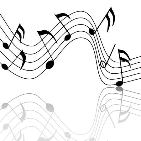 merry musical notes with a nice reflection