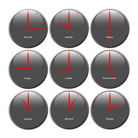 red  pointer: Grey clocks with glossy area showing world time, the red pointer