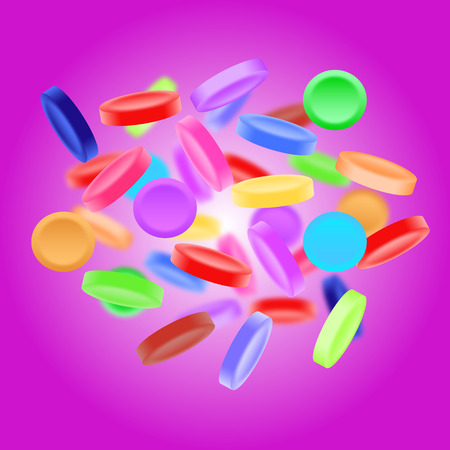 sugarcoat: Sweet, tasty, colorful candies on purple background Stock Photo