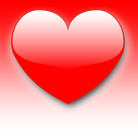 Lovely red heart with glossy area on red and white gradient background