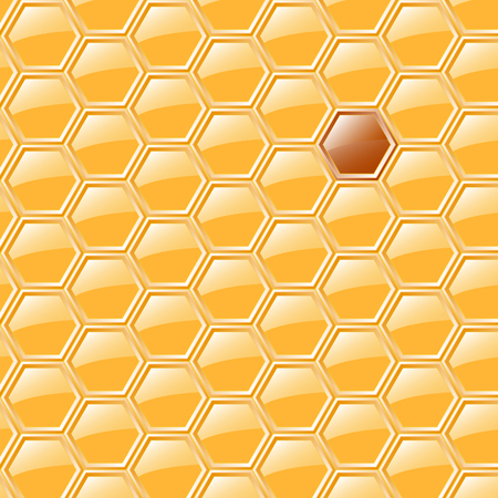 wax glossy: Sweet yellow honeycomb with one darker place Illustration