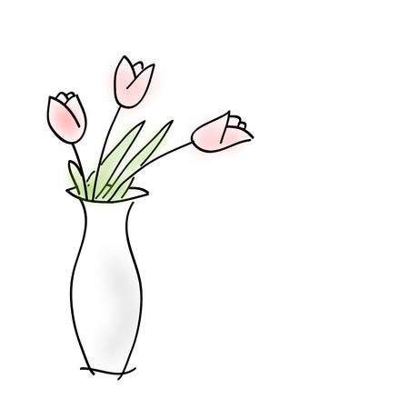 Sketch bouquet with three blurred tulips in a white vase on white background painted by hand