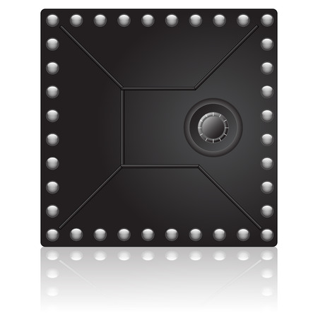 guard box: Black vault door with reflex on white background Illustration
