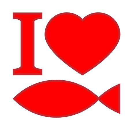"Text ""I love fish"", red symbols on white background with shadow"