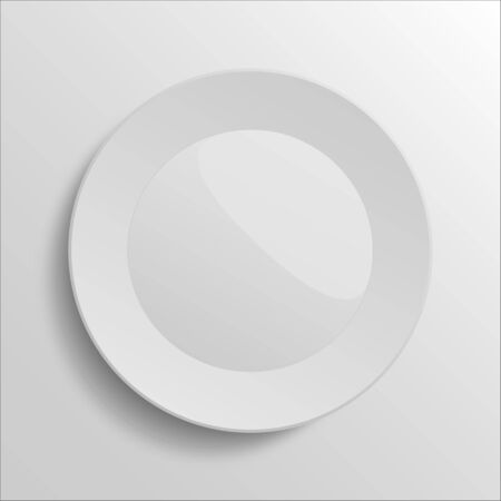 Clean white plate with glossy place on grey background without food