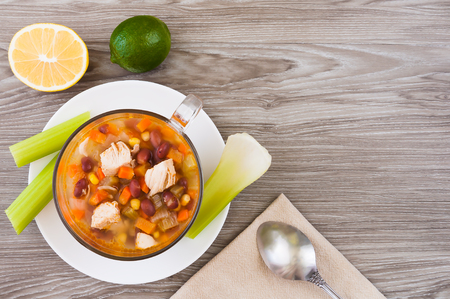 Mexican soup with chicken, celery and vegetables top view Stock Photo