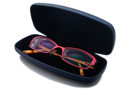Glasses and case on white background, isolated
