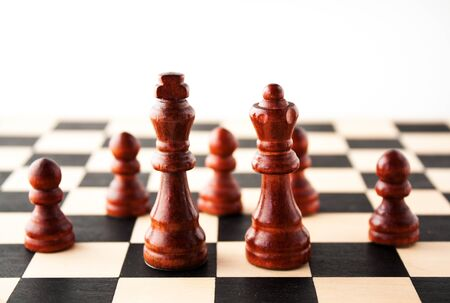 Multiple concepts ranging from marrige, power, family life, stratagy, or just royalty and chess available Stock Photo