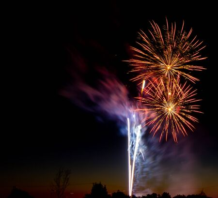 Fireworks used on both new years and 4th of july  includes two burst as well as a couple rocket trails
