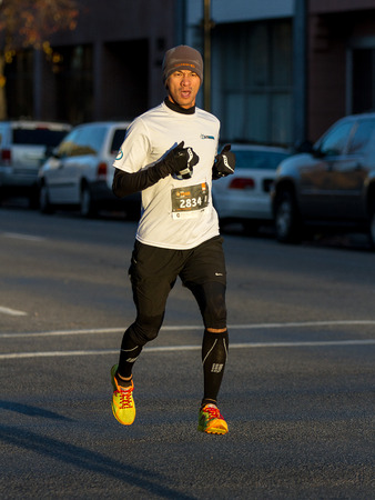 BOISE, IDAHO - NOVEMBER 22: Runner 2834 competes in the Turkey Day 5k in Boise, Idaho on November 22, 2012 Editorial