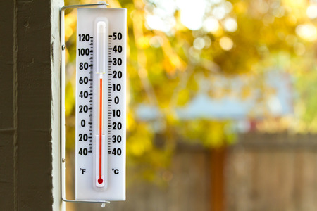 Image of a thermometer with pretty colors of fall in the background