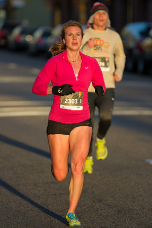 BOISE, IDAHO - NOVEMBER 22:  Runner 2303 racing in the Turkey Day 5k before the thanksgiving festivities begin in Boise, Idaho on November 22, 2012 Editorial