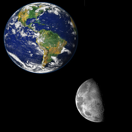 Image showing a picture of the moon close to the earth. Elements of this image furnished by NASA