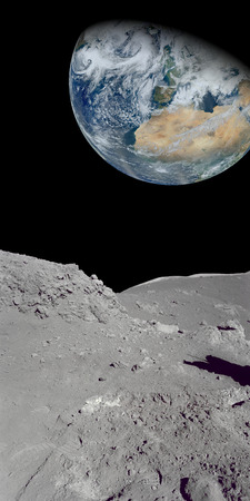 Image of the earth from a rocky ground that could be the moon. parts of image furnished by NASA photo