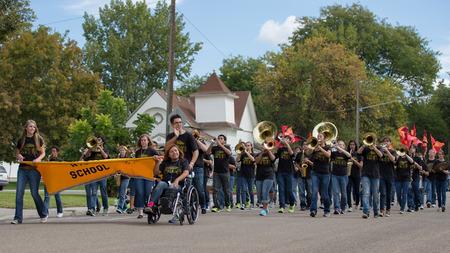 CALDWELL, IDAHOUSA - SEPTEMBER 27: The high school band plays music at the Caldwell High School Homecoming parade on September 27, 2013