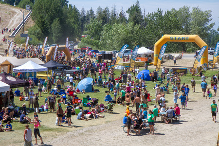 BOISE, IDAHOUSA - AUGUST 10, 2013:  Crowd of people having fun with the after race party at the The Dirty Dash