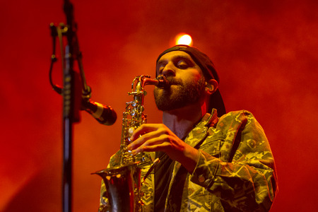 BOISE, IDAHOUSA - FEBUARY 8, 2013: Sam Harris plays his saxaphone to the crowd during the Night Visions Tour in Boise, Idaho