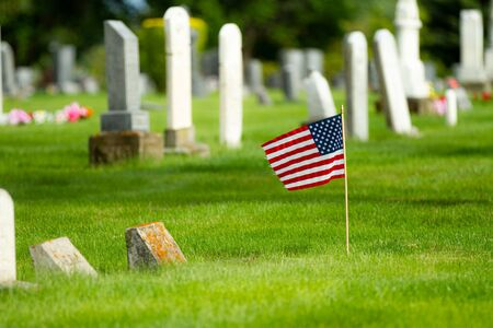 Flag waving in the cemetery during memorial day Stok Fotoğraf