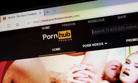 NAMPA, IDAHO - APRIL 14, 2020: Pornhub website where you can subsribe for adult content