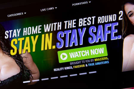 NAMPA, IDAHO - APRIL 14, 2020: Advertisement on PornHub telling people to stay in stay safe by using their services