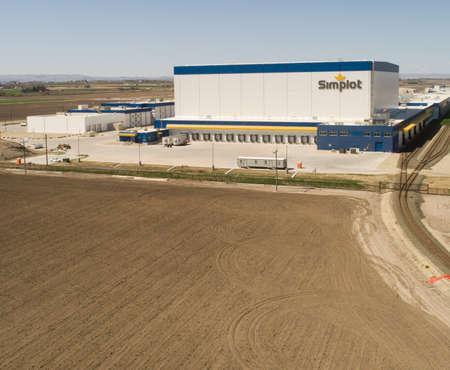 CALDWELL, IDAHO - APRIL 13, 2020: Simplot building in Idaho where they make food Editorial