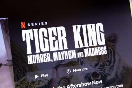 NAMPA, IDAHO - APRIL 14, 2020: Netflix is now streaming Tiger King Editorial