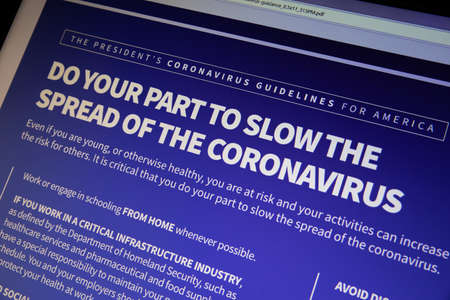 NAMPA, IDAHO - APRIL 14, 2020: guidelines per whitehouse.gov to slow the spread of the coronavirus Editorial