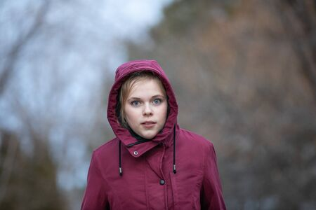 Preteen girl walking on a cold day