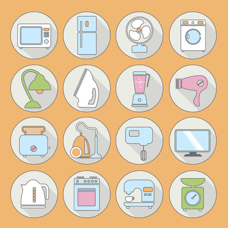set of household appliances flat icons on colorful round web buttons with a washing machine stove fridge lamp kettle coffee machine and toaster