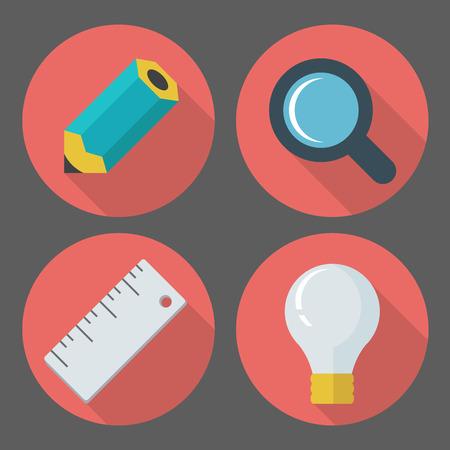 emprendimiento: vector de concepto de negocio, dise�o de elementos infogr�ficos en el estilo retro plana, set de iconos de negocios con un l�piz, lupa, regla, l�mpara