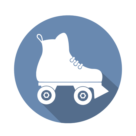 rollerskate: roller skate icon with a long shadow on white