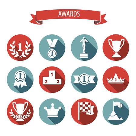 winner podium: set of white vector award success and victory flat icons on colorful round web buttons with trophies cups ribbons crown diadem medals medallions wreath and a podium