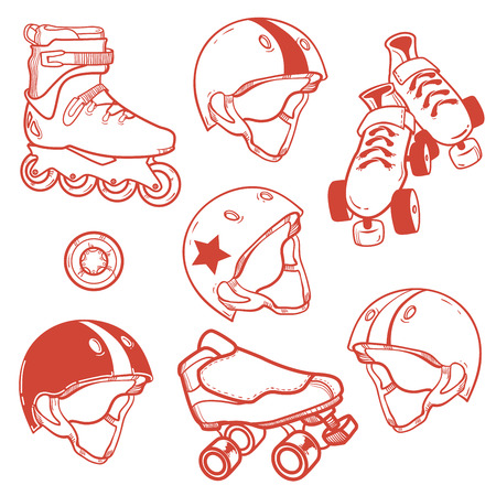 set of roller skates helmets wheell