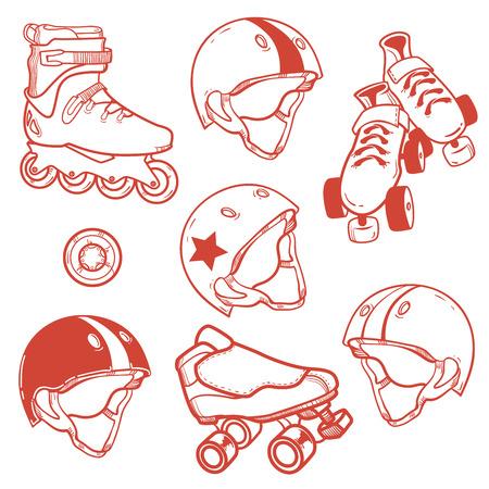 casters: set of roller skates helmets wheell
